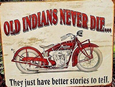 Old INDIAN MOTORCYCLE Vtg Metal Tin Ad Sign Biker Poster Picture Garage Shop