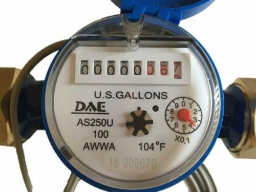 "DAE AS250U-100P 1"" Water Meter, Pulse Output, Measured in Gallon + Couplings"