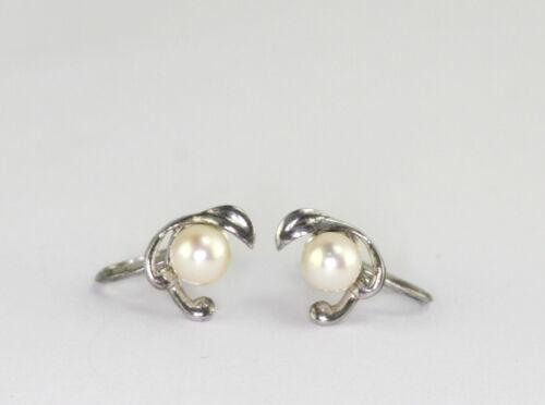 Vintage Sterling Silver Mikimoto Akoya Cultured Pearl Screwback Earrings 6mm