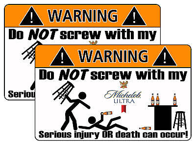 Michelob Ultra Beer Warning Sticker Decal Funny Guy