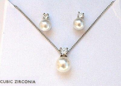 Neu Großhandel Lot 100 Sets Silber Cubic Zirkonia Perle Anhänger Ohrring Cz