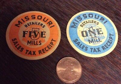 State of Missouri sales tax receipts, Vintage  1 Mill & 5 Mills tokens