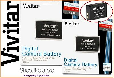 2-Pcs Hi Capacity Vivitar LPE12 Li-Ion Battery Pack for Canon LP-E12
