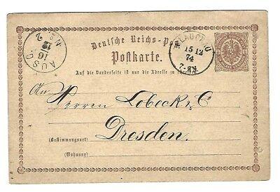 DR - Postkarte - Drucksache -  1/2 Groschen - gel 1874 Glauchau nach Dresden