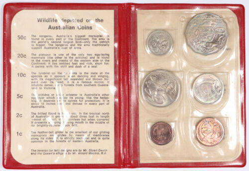 1971 Australia Decimal Mint 6 Coin Set BU Unc w/ Original Red Folder
