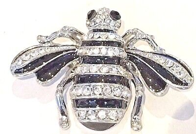 Absolute Beautiful Bumble Bee Silver Pin Brooch