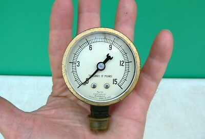 Vintage Antique Old Marsh Instrument Co 15000 Lb Pressure Instrument Gauge 2.5
