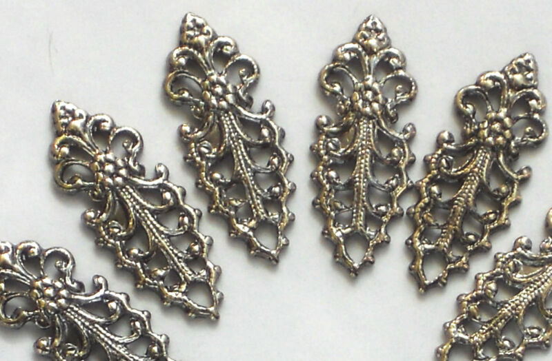 #1418 Vintage Drops Victorian Art Nouveau Filigree Dangles Connectors Silver Gun