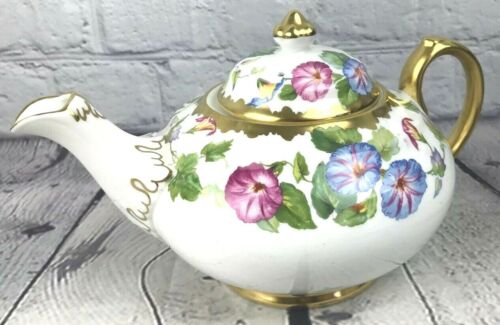 Vtg Royal Chelsea Bone China Teapot Blue Purple Flower Morning Glory England