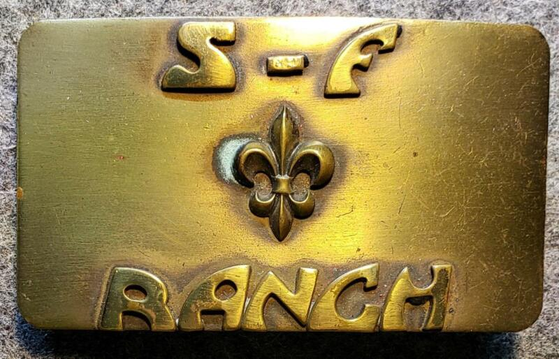 S-F Ranch Solid Brass Belt Buckle S Bar F - St. Louis Missouri - Boy Scouts/BSA
