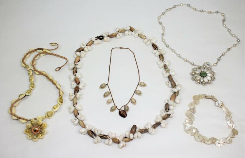 5 Piece Vintage Lot Hawaiian Pacific Island Sea Shell Necklace Choker Lei