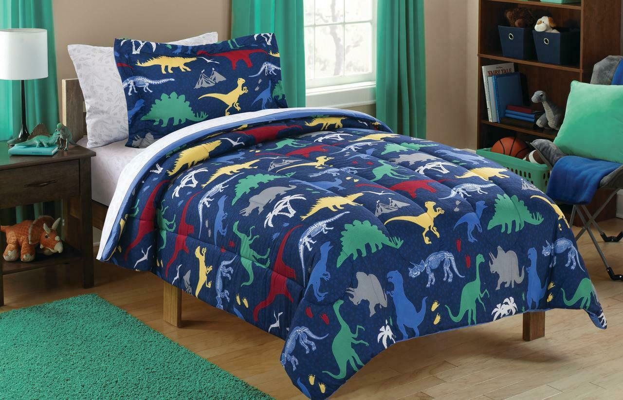 Mainstays Kids Dino Roam Bed Bag Bedding Set Twin Polyester
