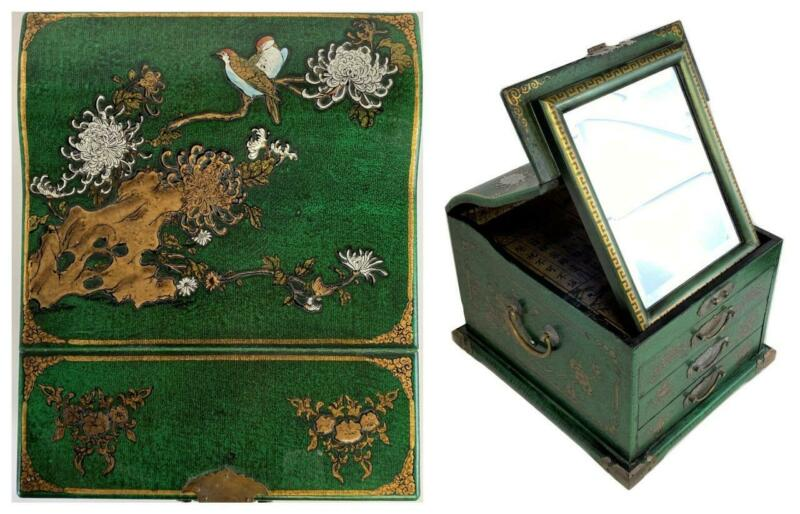 Big Chinese Chinoiserie Green Lacquer Coromandel Mirror Jewelry Chest Box Trunk