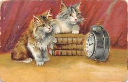 CATS WATCHING ALARM CLOCK BOOKS POSTCARD 1909
