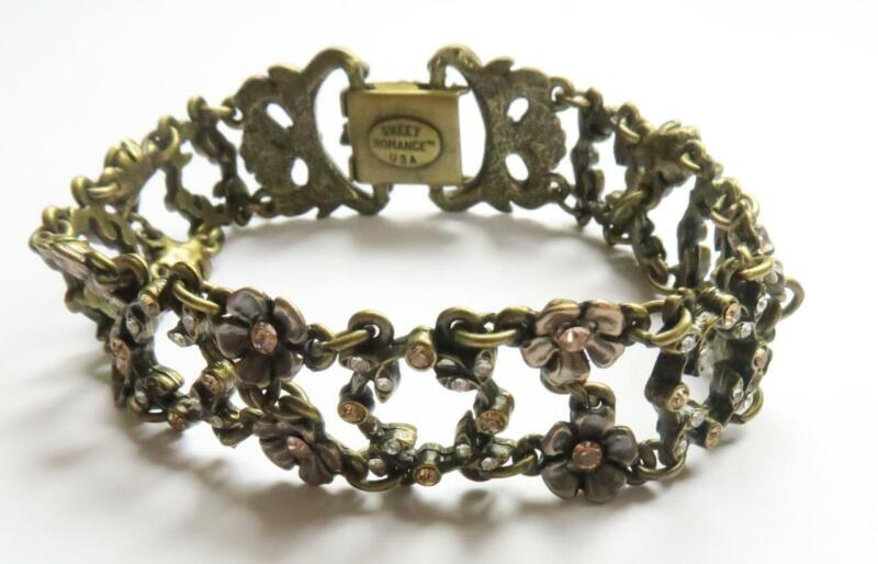 VINTAGE STYLE SWEET ROMANCE USA SHELLEY COOPER CRYSTAL FLOWER PANEL BRACELET