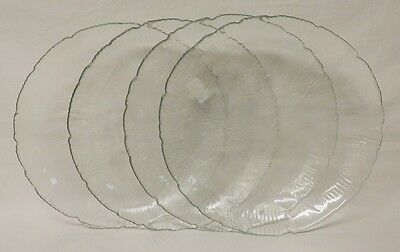Free shipping – NEW – CANTERBURY – 4 clear glass dinner plates - Arcoroc