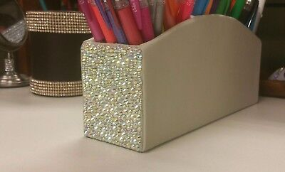 Bling Ab Crystal Rhinestone Pencil Holder Desk Accessories Makeup Cosmetic