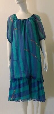 80s Dresses | Casual to Party Dresses Vintage 1980's Blue And Green Stripe Mu Mu Dress $26.21 AT vintagedancer.com