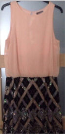 Brand New Lispy Dress Size 12 Heavily Sequenced Bottom Skirt With Peach Chiffon Top Half