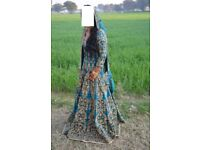 Teal and antique gold Asian wedding Bridal Lengha