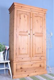 DELIVERY OPTIONS - SOLID PINE DOUBLE FARMHOUSE WARDROBE WITH 1 LARGE DRAWER