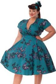Teal Lady vintage dress, brand new with tags