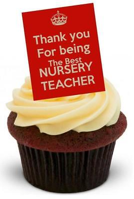 BEST NURSERY TEACHER RED - 12 Edible Stand Up Premium Wafer Cake