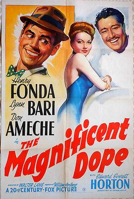 "One Sheet Poster - ""Magnificent Dope"" - HENRY FONDA - LYNN BARI - DON AMECHE '42"
