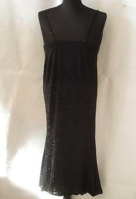 1920s ANTIQUE ART DECO WOMAN NIGHT GOWN DRESS w/GLASS BEADS