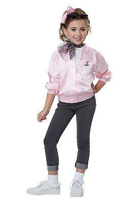 Child Pink Ladies 50S Satin Varsity Jacket Grease Costume
