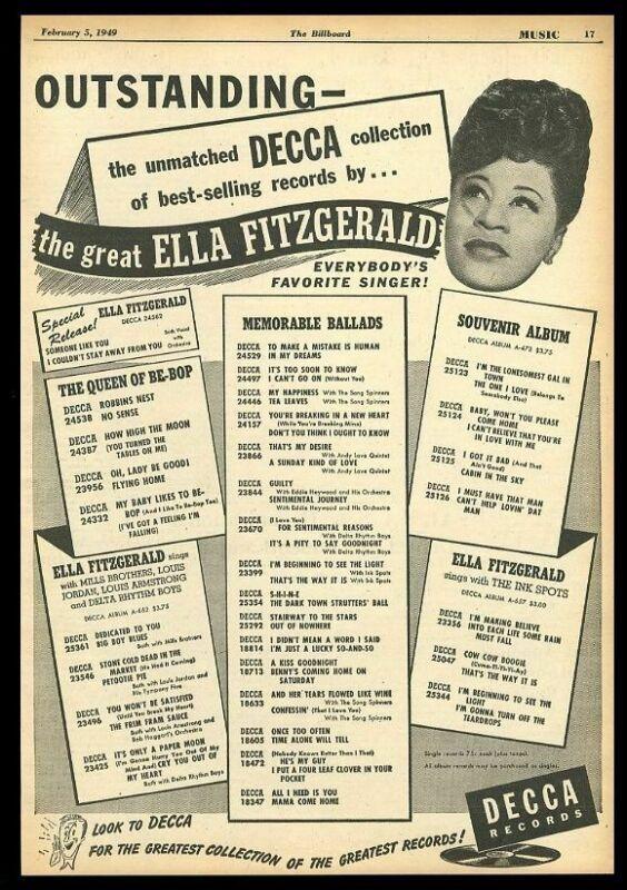 1949 Ella Fitzgerald photo Decca Records scarce trade print ad