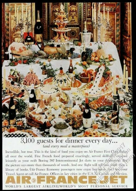 1961 Air France first class food feast photo vintage print ad