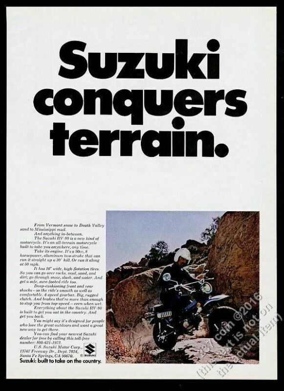 1972 Suzuki RV-90 all terrain motorcycle photo vintage print ad