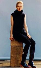 Ladies Black Belted Fleece Sleeveless 21cm High Polo Roll Turtleneck Tunic Top.Size 12.