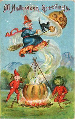 GOTTSCHALK DREYFUSS & DAVIS HALLOWEEN POSTCARD SERIES 914, WITCH FLYING OVER POT](Davis Halloween)