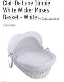 Moses basket for sale . In good condition and washed and ready for collection