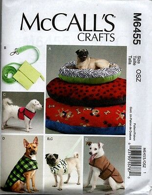 McCall's 6455 Pet Dog Bed Lease Case Harness Vest Coat Sewing Craft Pattern NEW