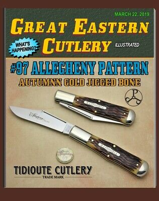 "GREAT EASTERN CUTLERY KNIFE - {TIDIOUTE} #97 AUTUMN GOLD JIGGED BONE - 4 3/4"""