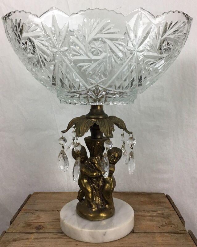 HollyWood RegencyBowl Brass Cherubs Pedestal Marble Base Prism 13.5 x 13.75
