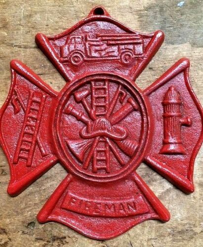Red Fireman Plaque Maltese Firefighter Cross, cast iron sign 8 x 9 inches RED