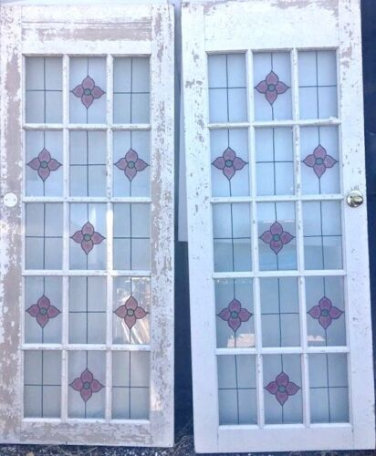 Pair Matching Solid Wood Inside French Doors w/Leaded Stained Glass Panels