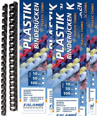 100 Plastikbinderücken Sortiment 6 -19 mm schwarz / Plastik Bindespiralen Set