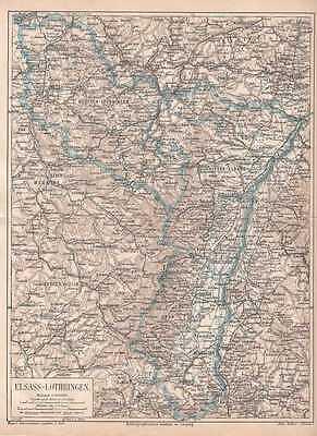 ELSASS-LOTHRINGEN Alsace Lorraine LANDKARTE von 1875 Nieder-Elsass Vogesen