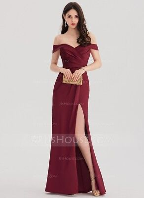 Sheath/Column Off-the-Shoulder Floor-Length Satin Prom Dresses With Ruffle Split ()