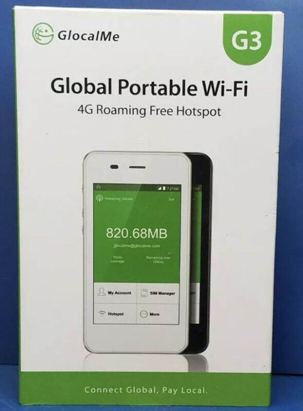 GlocalMe G3 Global Portable Wi-Fi - 4G Roaming Free Hotspot Travel New Sealed