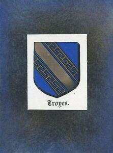 ANTIQUE-TROYES-FRANCE-HERALDRY-CREST-PRINT-ON-ACEO-NEW-BLACK-PAPER-COAT-OF-ARMS