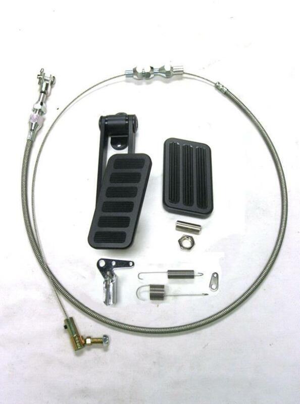 "Black Aluminum 6 Pad Gas Pedal & Brake Pad + 24"" SS Throttle Bracket Spring Kit"