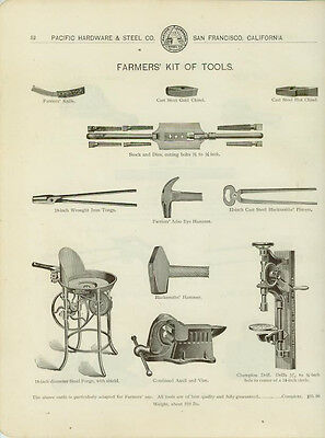 Catalog Page Ad Farmer's Kit Of Tools Forge Hammers Drill Tuyere IronsCalif 1902