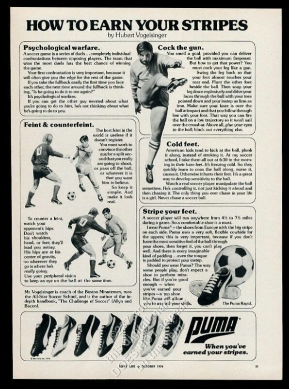 1976 Puma cleats shoes 7 models Hubert Vogelsinger photo vintage print ad