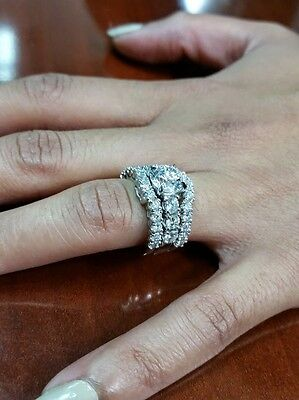 4.80 Ct. Round Cut Pave Natural Diamond Wedding Set - GIA Certified & Appraised 1